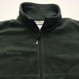 COLUMBIA Mens Large Green Fleece Full Zip Jacket